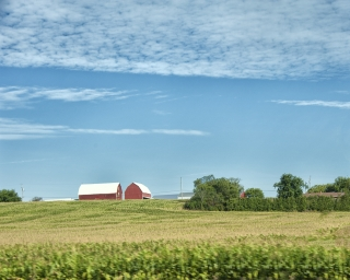 Farmland and a farm house in New York State.