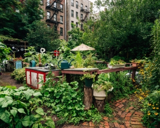 A community garden in the East Village of New York City