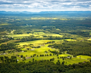An aerial view of Hudson Valley farmland.