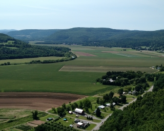 An aerial view of farmland in Schoharie Valley.