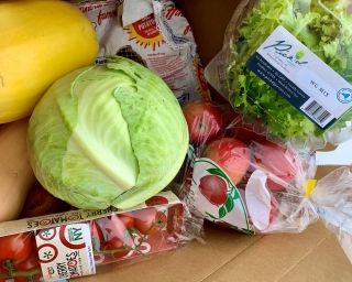 Nourish NY products like lettuce, squash, and tomatoes.
