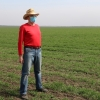 A farmer standing in a field wearing a mask.