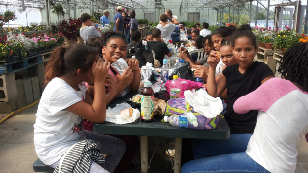 Students eat lunch in a greenhouse.