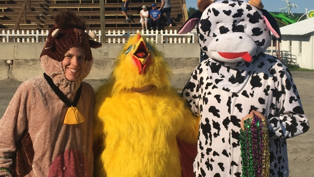 Mascots posing at the Essex County Fair